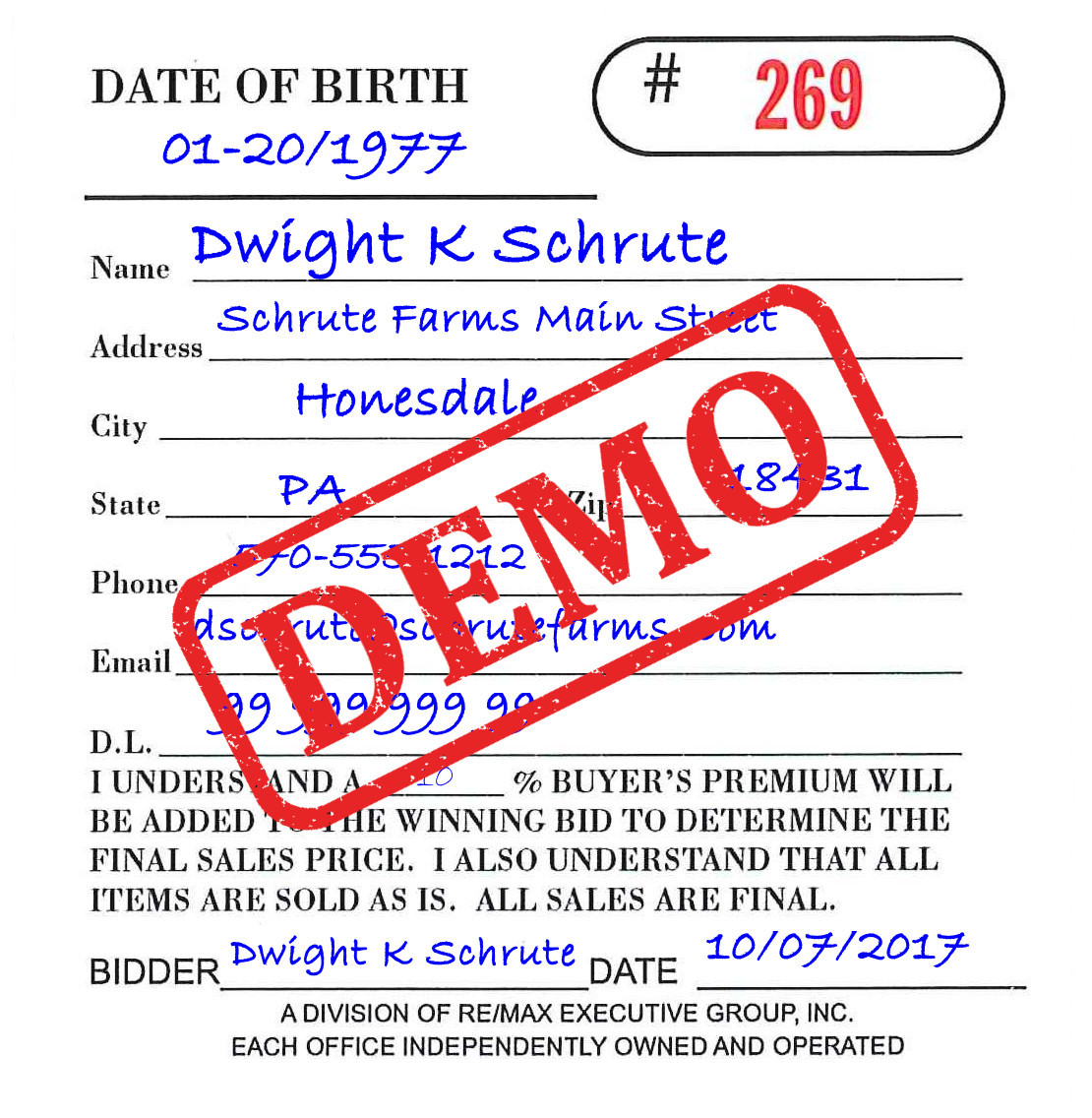 Auction Bidder Card Filled Out Demo